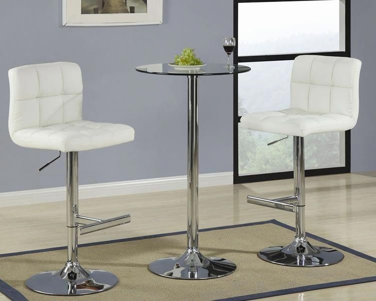 Round Gl Pub Table With Cream Bar Stool Regarding Tables Regard To Property Bartablesandstools