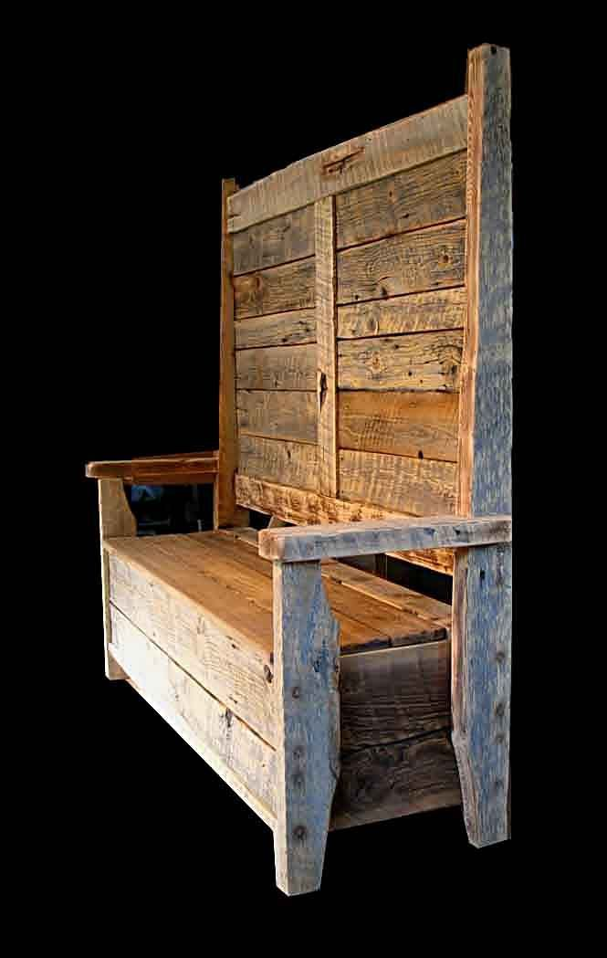 Hinged Storage Bench Part - 31: Rustic Barnwood Benches - Bootbench, Hinged Seat Storage Bench, And  Distressed Plank With Painted
