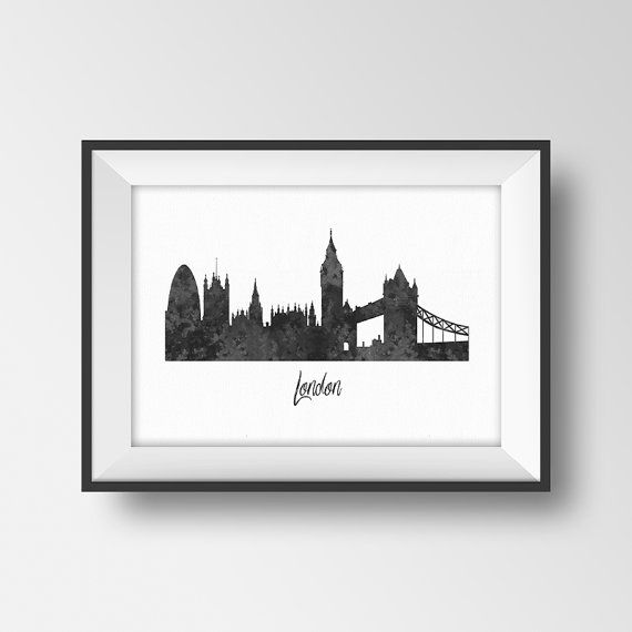 London Print Silhouette City Poster Black And White Wall Art Skyline Printable Watercolor Home