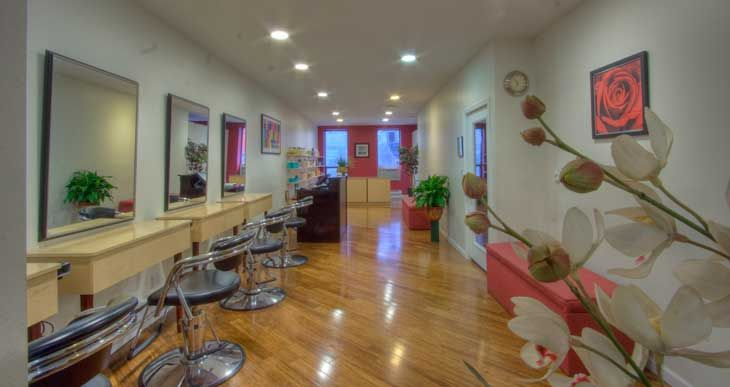 pink and white salon