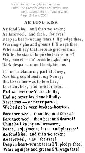 Ae Fond Kiss Robert Burns Robert Burns Poems Poetry Words