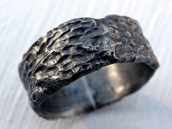 Rustic Mens Ring Mens Wedding Band Silver Wood Ring Cool Mens