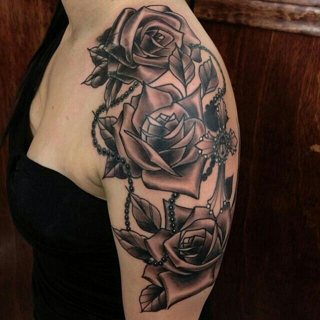 Rose Rosary Tattoo Rosary Tattoo Tattoos Rose Tattoo Sleeve