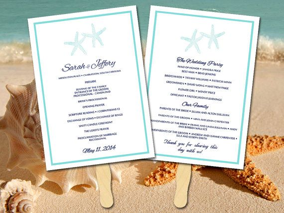 Beach Wedding Program Fan Template Ceremony Lazy Starfish Navy Turquoise Instant Downloa