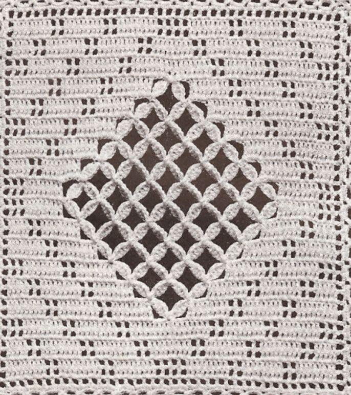 Crochet Motif Block Crossbar Square Bedspread Pattern | crochet ...