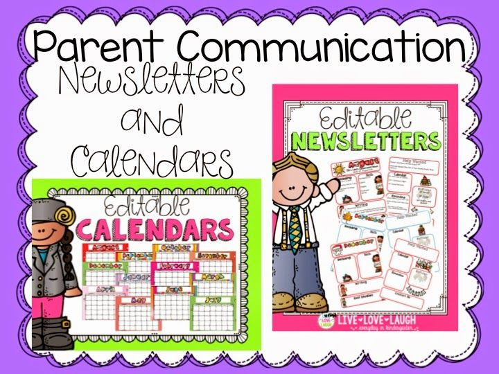 Kindergarten Calendar For Parents : Parent communication editable monthly newsletters and