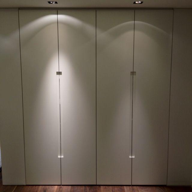 Tall Wardrobe Units With Walnut Internals And J Profiled Handle