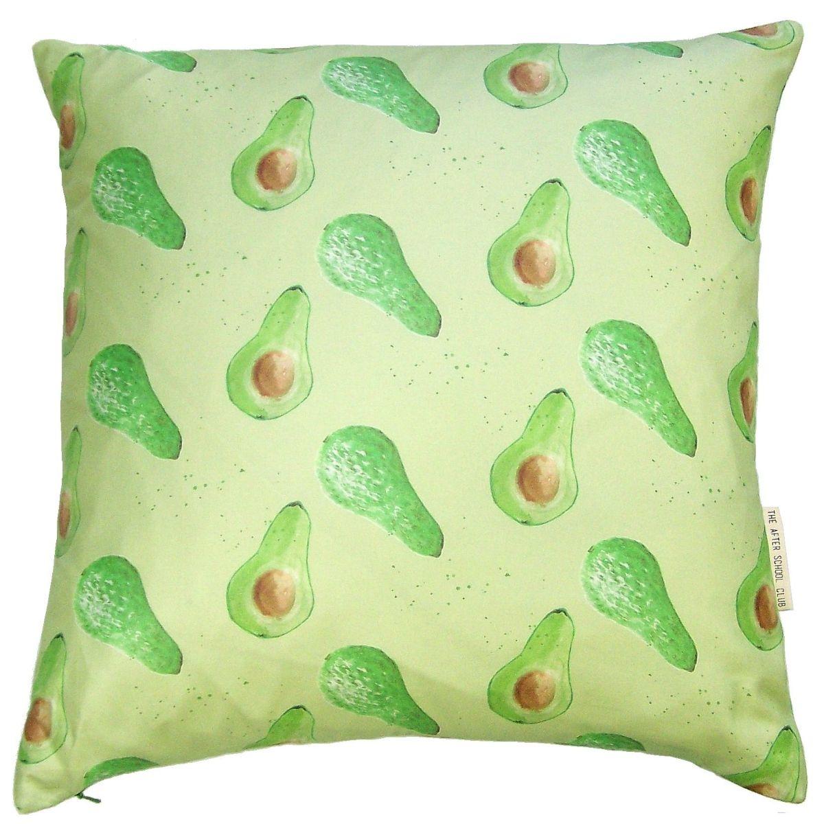 Avocado print cushion hand painted watercolour design