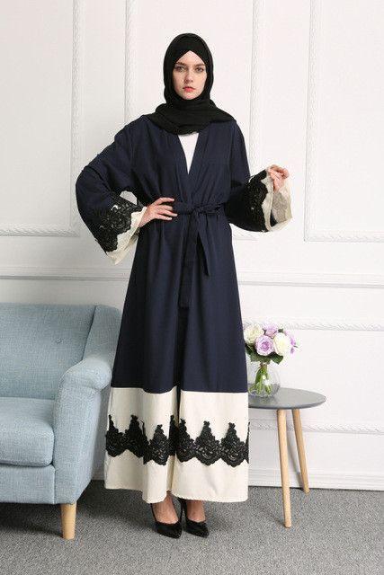 Navy & Creme Lace Abaya