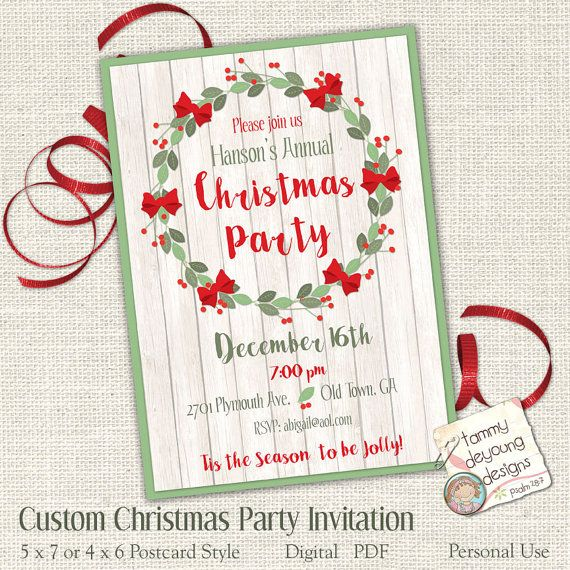 Printable Christmas Party Invitation, Customized Your Words - open house flyer