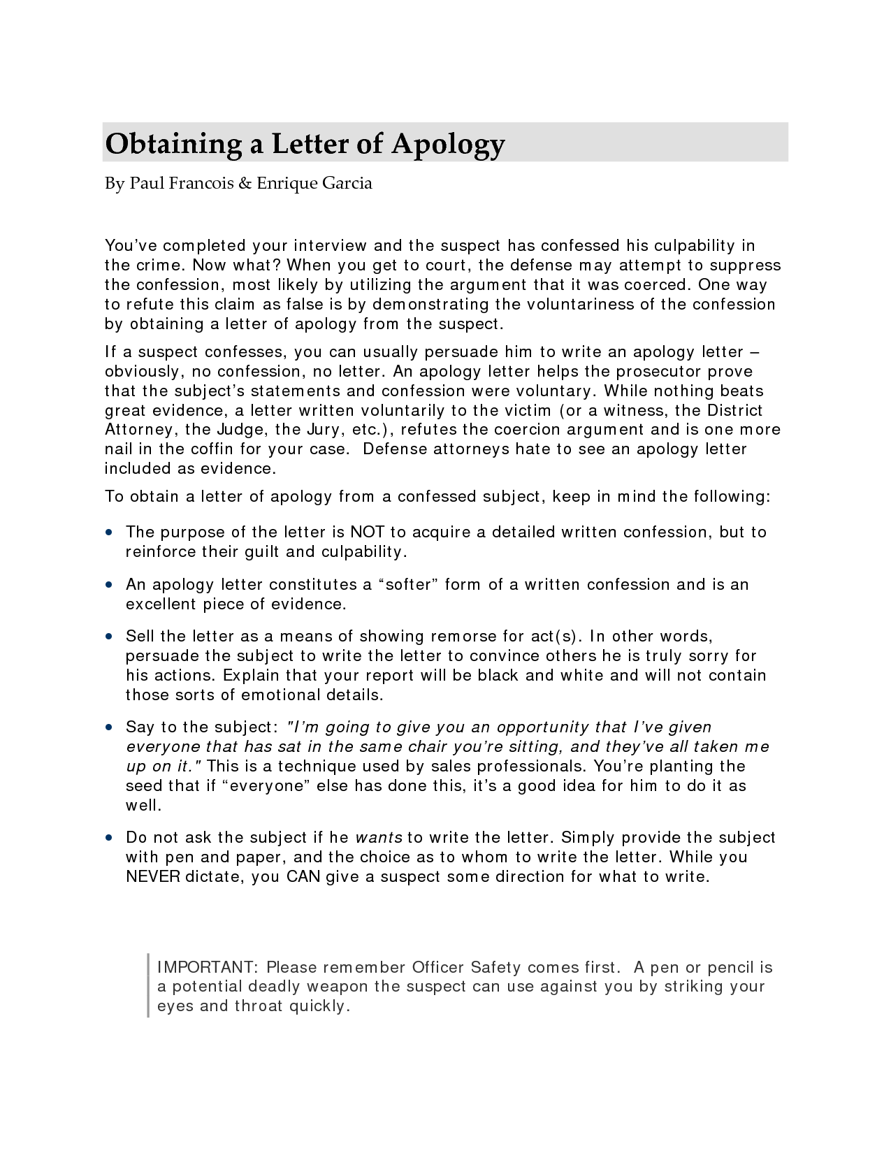 Obtaining A Letter Of Apology  Letter
