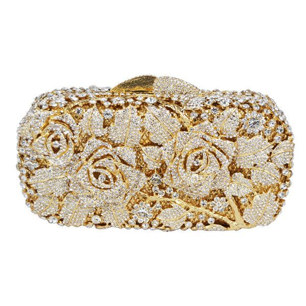 Luxury Crystal Clutch Evening Bag Golden Rose Flower Party Purse Women Wedding Bridal Handbag Pouch Soiree