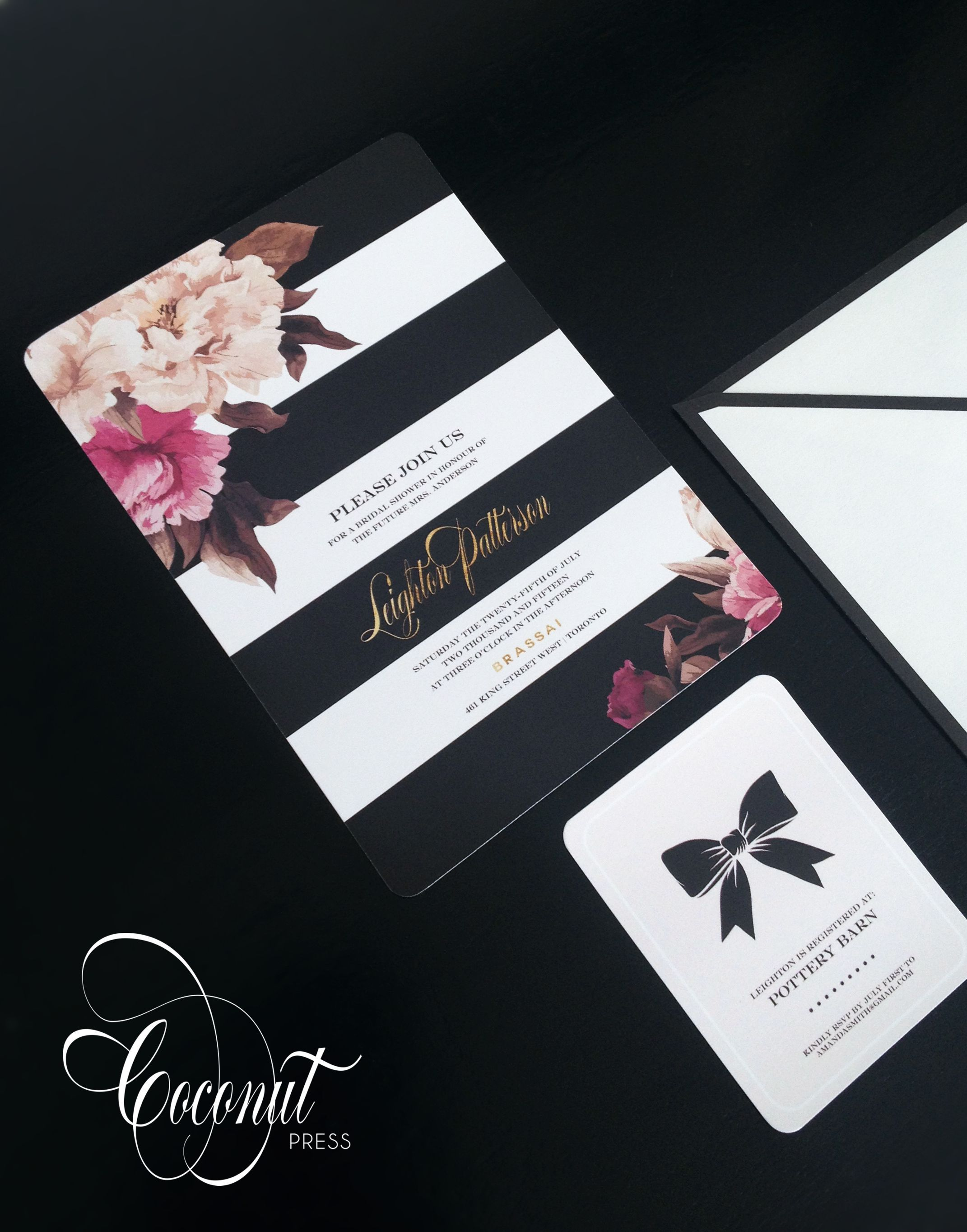 Striped Floral Bridal Shower Invitations // Gold, Floral, Black And White //