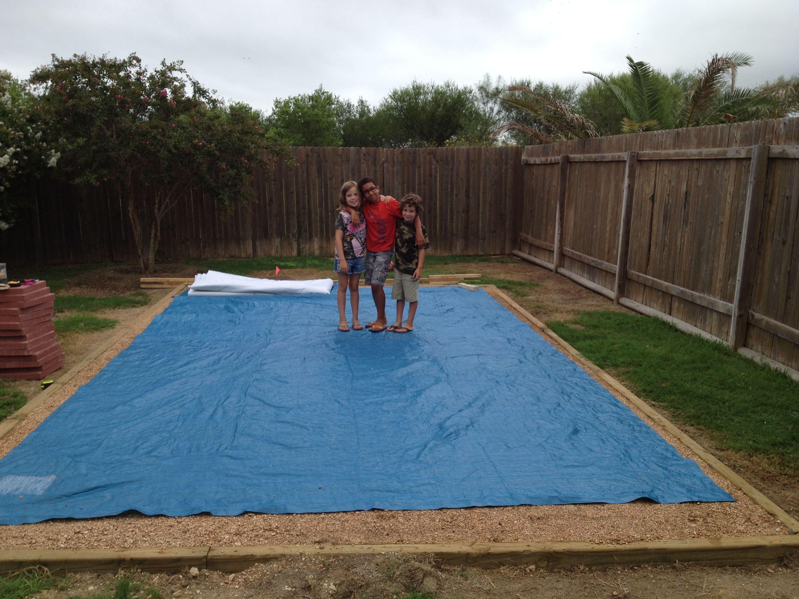 Tarp out getting ready to put gorilla pad down | 9x18 foot Intex ...