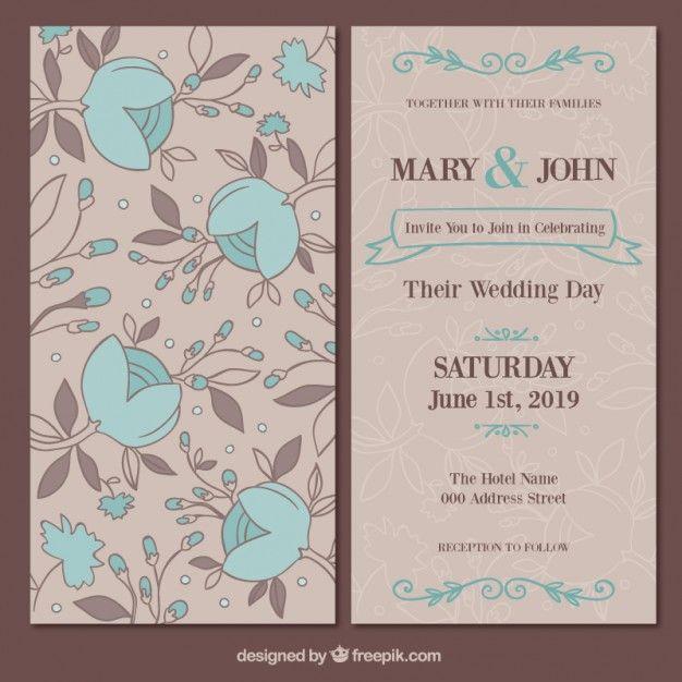 download floral wedding card for free  floral wedding