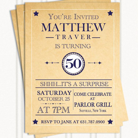 Surprise Birthday Party Invitation - 21st, 30th, 40th, 50th, 60th on - sample invitation wording for 60th birthday