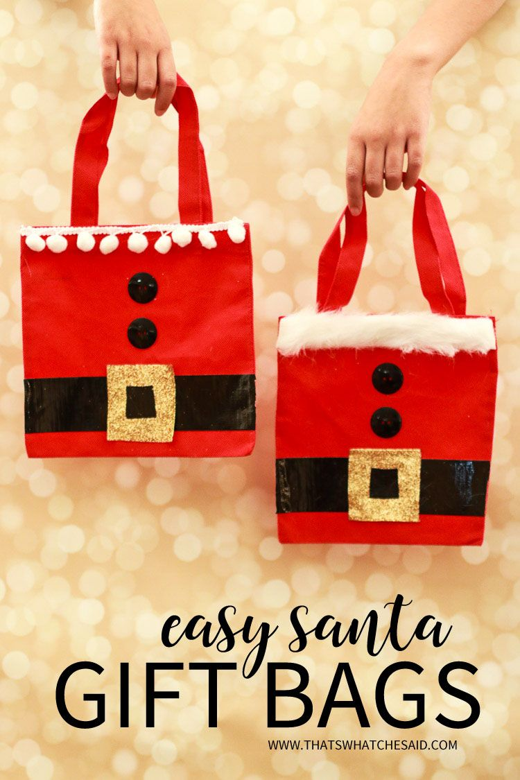Give your gifts in style with these super easy to make Santa Gift Bags! Supplies at Dollar Store and fun to give and receive!