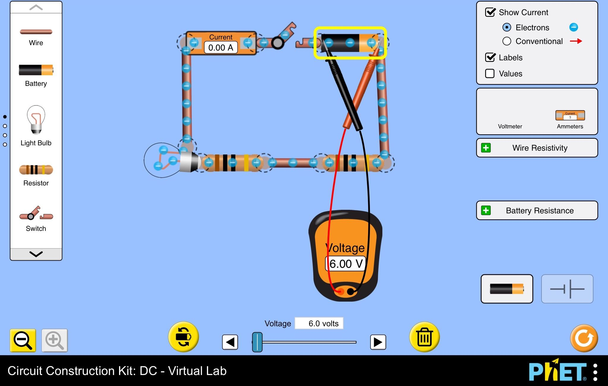 Circuit Construction Kit - DC Virtual Lab - Assistance With