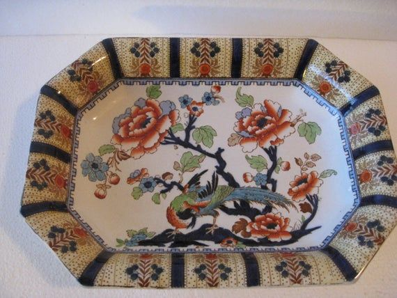Vintage Burslem Losol Ware Serving Dish Shanghai Pattern/ Retro Dish/ Serving Bowl/ 1920s-30s Bone C #dishware