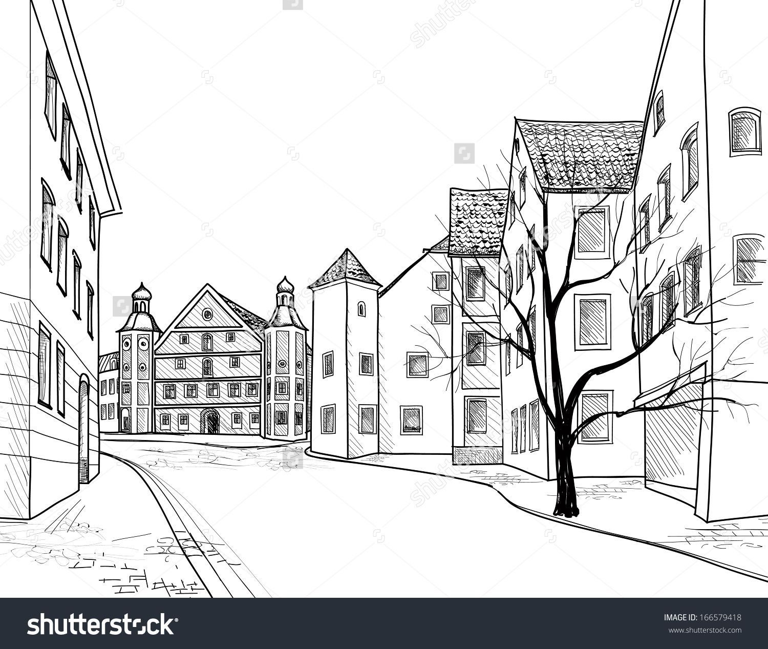 Pedestrian Street In The Old European City Burglengenfeld Bavaria Germany Hand Drawing Background With Church