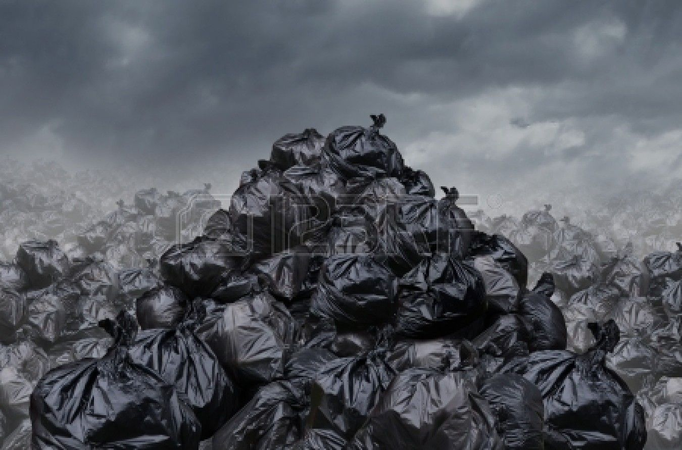 Garage Dump Concept With Mountains Of Black Waste Bags Of Trash Biodegradable Bags Garbage Biodegradable Products