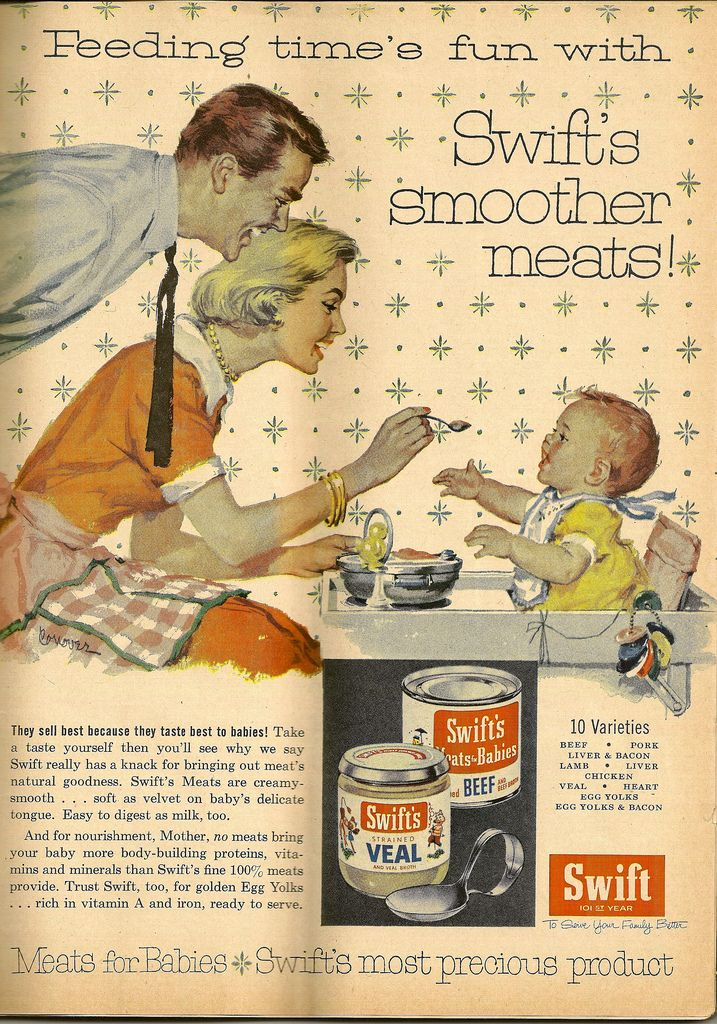 Feeding time's fun...with Swift's smoother meats...vintage baby food ad.
