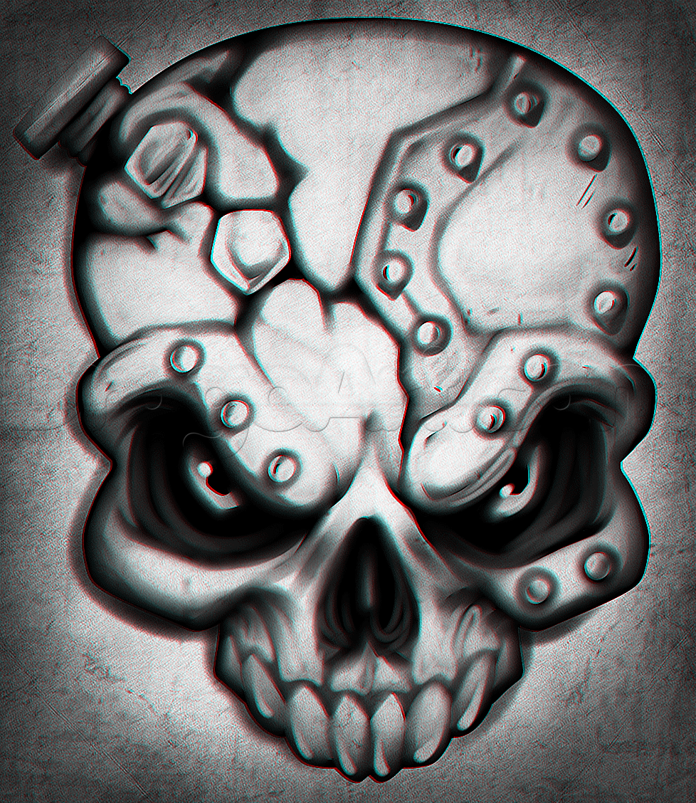 How to Draw an Iron Skull, Step by Step, Skulls, Pop