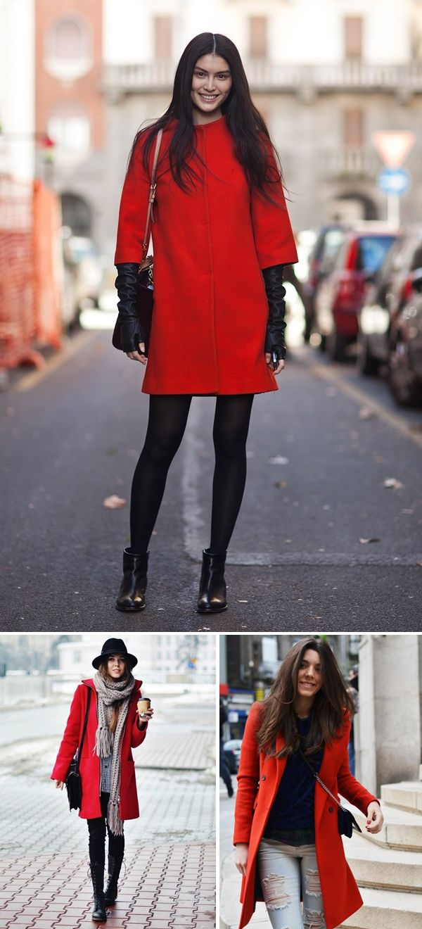 Red coat love...and I will have that scarf one day... | Looks ...