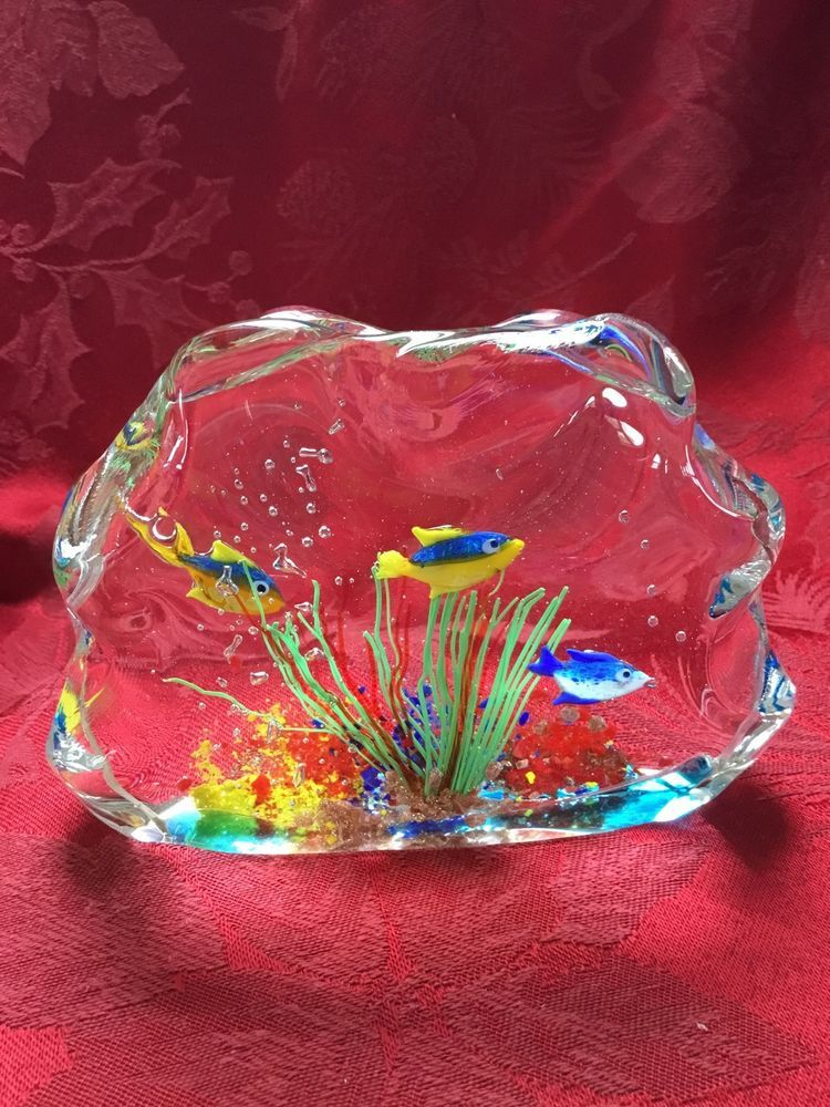 FLAWLESS Exceptional MURANO Made Italy Art Glass EXOTIC FISH AQUARIUM Sculpture | eBay