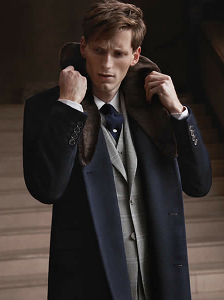 Collar up to protect against Bordeaux cool air #ModeWine Reiss Into The Night 2013 Lookbook