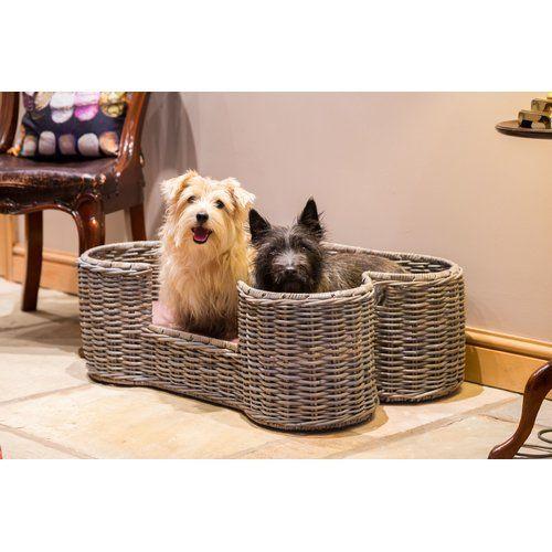 Archie Oscar Bethany Rattan Dog Bone Pet Bolster Cushion Natural