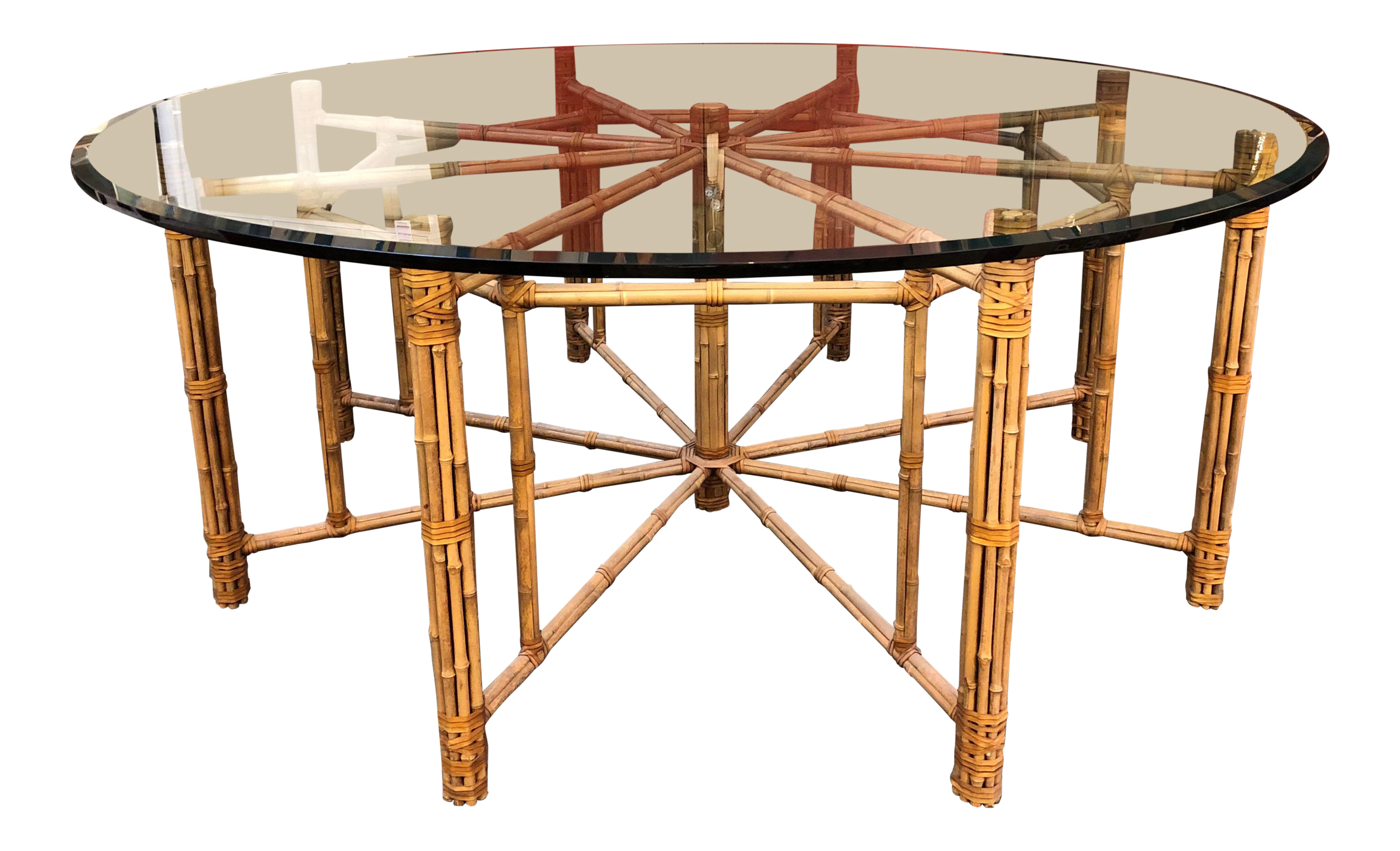 Vintage Round Mcguire Bamboo Glass Dining Table Price 2 399