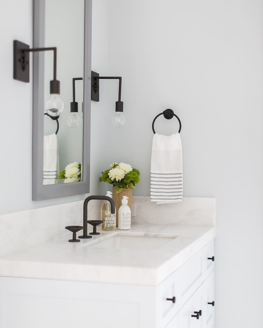 Black Bathroom Details We Sconces Hardware Faucet All In A Flat Black Finish And A Bo Guest Bathroom Small Wall Sconces Bedroom Bathroom Wall Sconces