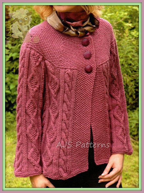 PDF Knitting Pattern for a Ladies Cabled Aran Jacket or Cardigan ...