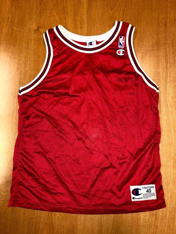 8e35412db Vintage 1995 - 1998 Chicago Bulls Blank Champion Jersey Size 40 nba finals  hat shirt scottie pippen