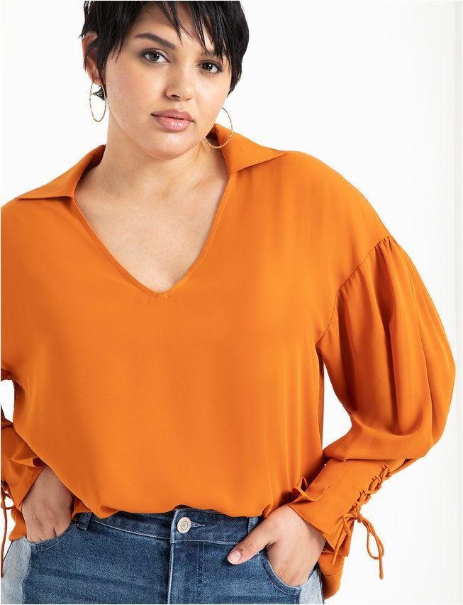 Lace up Cuff Top   Women's Plus Size Tops   ELOQUII 3