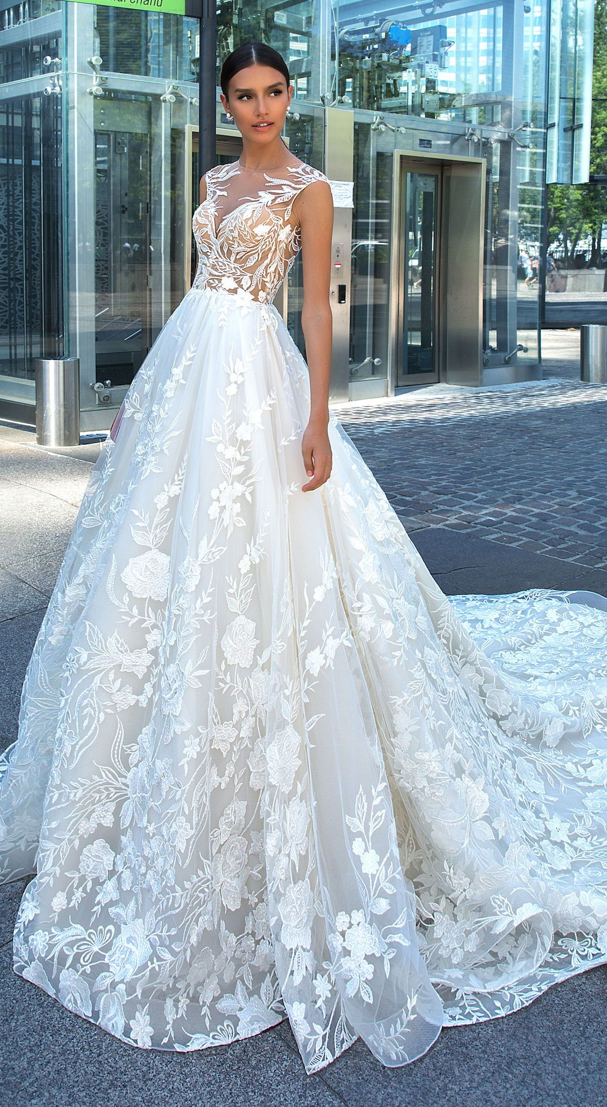 Ball Gown Wedding Dress By Crystal Design Princess A Line Bridal Gown With Cap Sleeve L Ball Gown Wedding Dress Wedding Dresses Lace Ballgown Wedding Dresses [ 2186 x 1200 Pixel ]