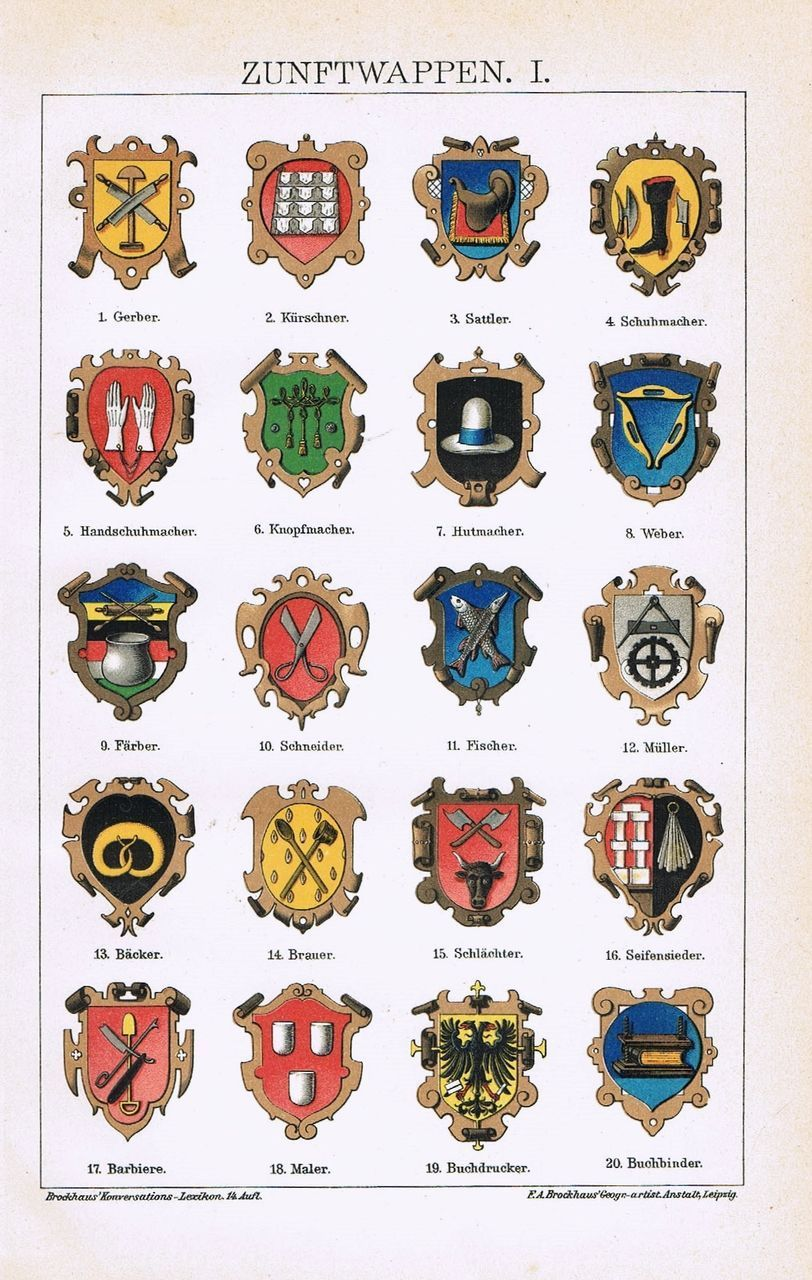Trade Guilds. 2 Chromo Lithographs from 1901 | Antique prints ...