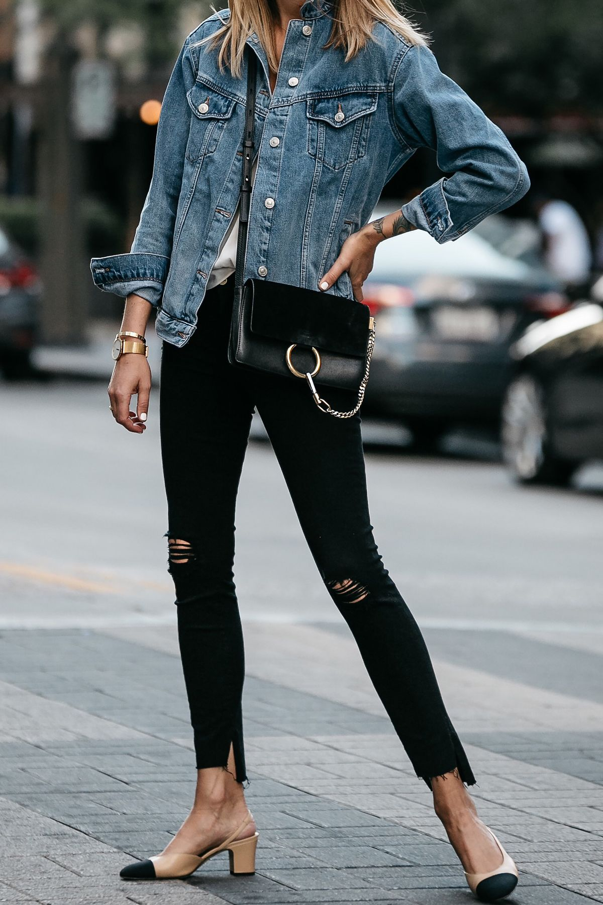 Denim Jacket Chloe Faye Handbag Frame Black Ripped