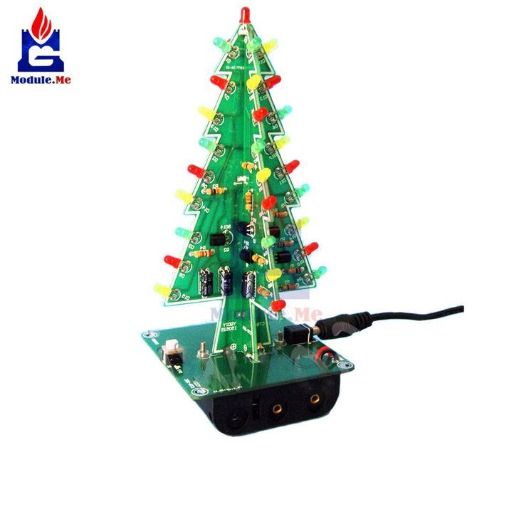1Set 3D Christmas Tree LED DIY Kit RedGreenYellow LED Flash Circuit Kit Electr  Electronic Components and Supplies