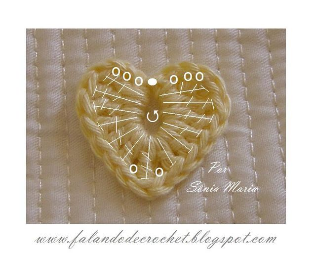 Mini crochet heart. This page is charted and also written in Portuguese but can be translated into English from the sight.