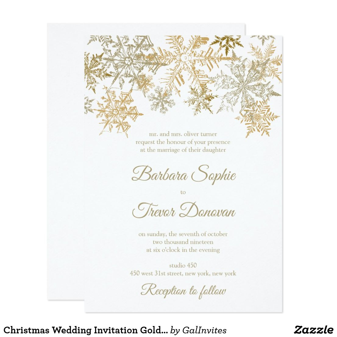 Gold Snowflakes Christmas Themed Winter Wedding Invitation