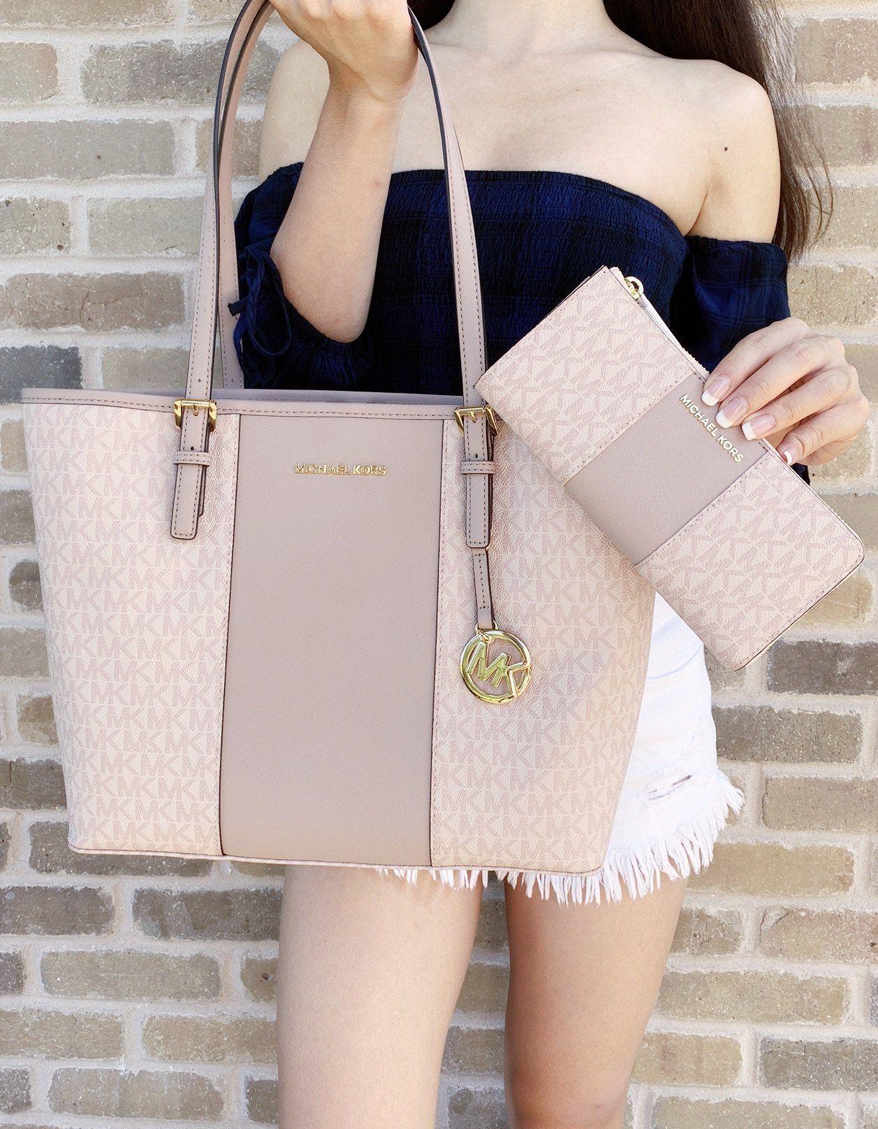 27c94c0b38 Michael Kors Medium Carryall Tote Vanilla MK Signature Ballet Pink Fawn  Wallet SET