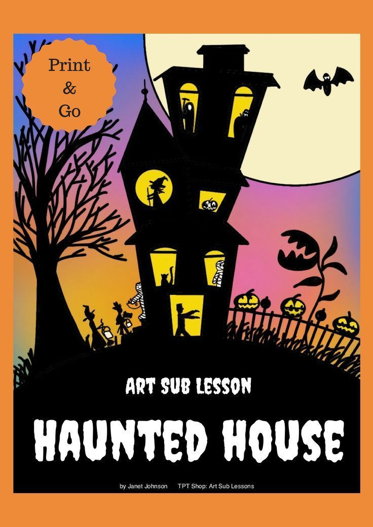 this is a fun halloween art sub lesson that can be taught by anyone the prep is simple 10 pages of visuals 35 pages of teacher script