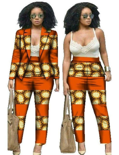 3f74fe2628b African Dresses for Women Suits Women Winter Two Piece Set Top and Pants  Women Blazers and Jackets Women Clothes 6XL BRW WY019