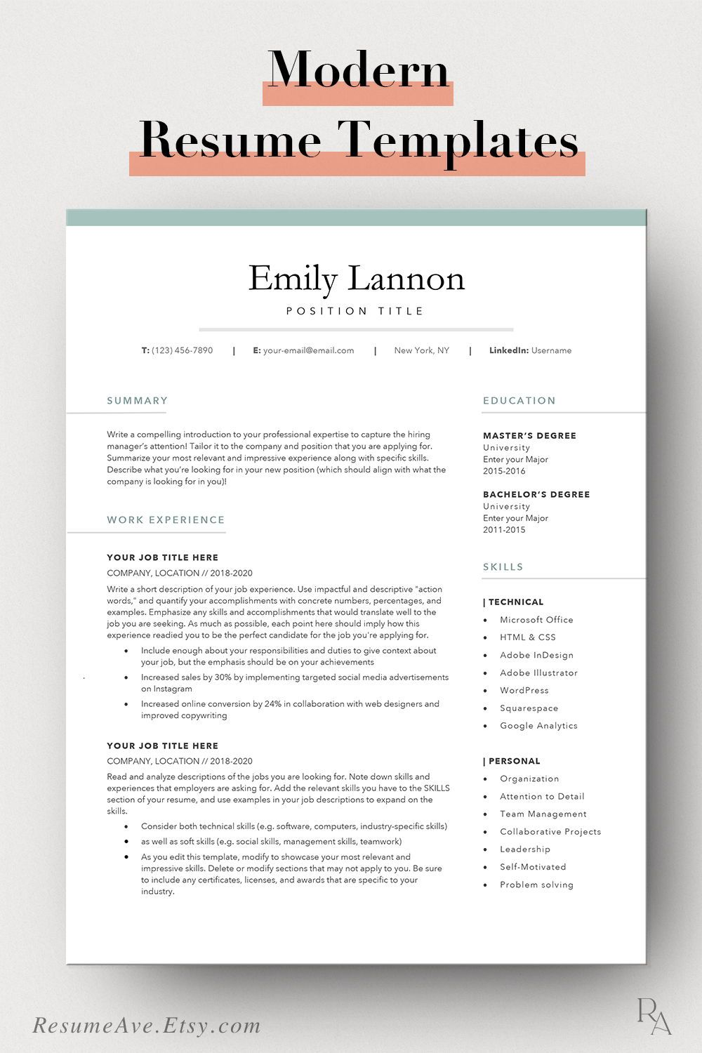 Feminine resume template Word with green border simple