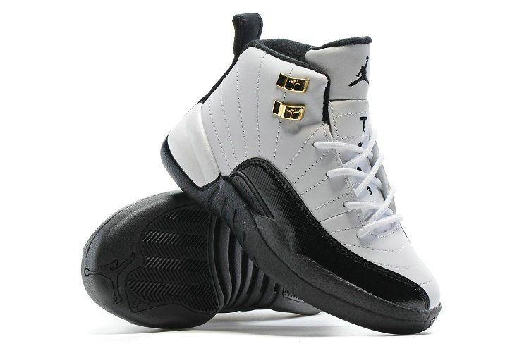 size 40 11219 68587 Air Jordan 12 Kids Boys Taxi White Black