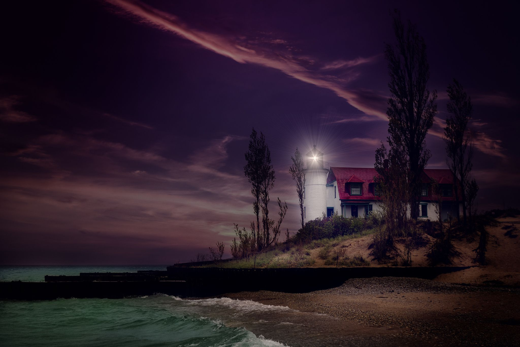 Point Betsie Lighthouse by Night
