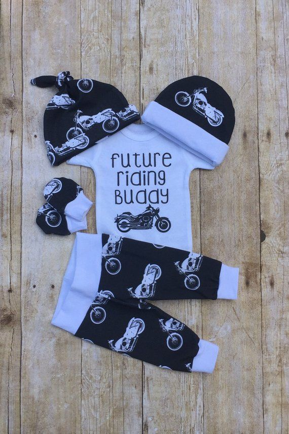 Photo of Motorcycle Baby Boy Take Home Outfit, Future Riding Buddy Baby Boy, Baby Shower Gift