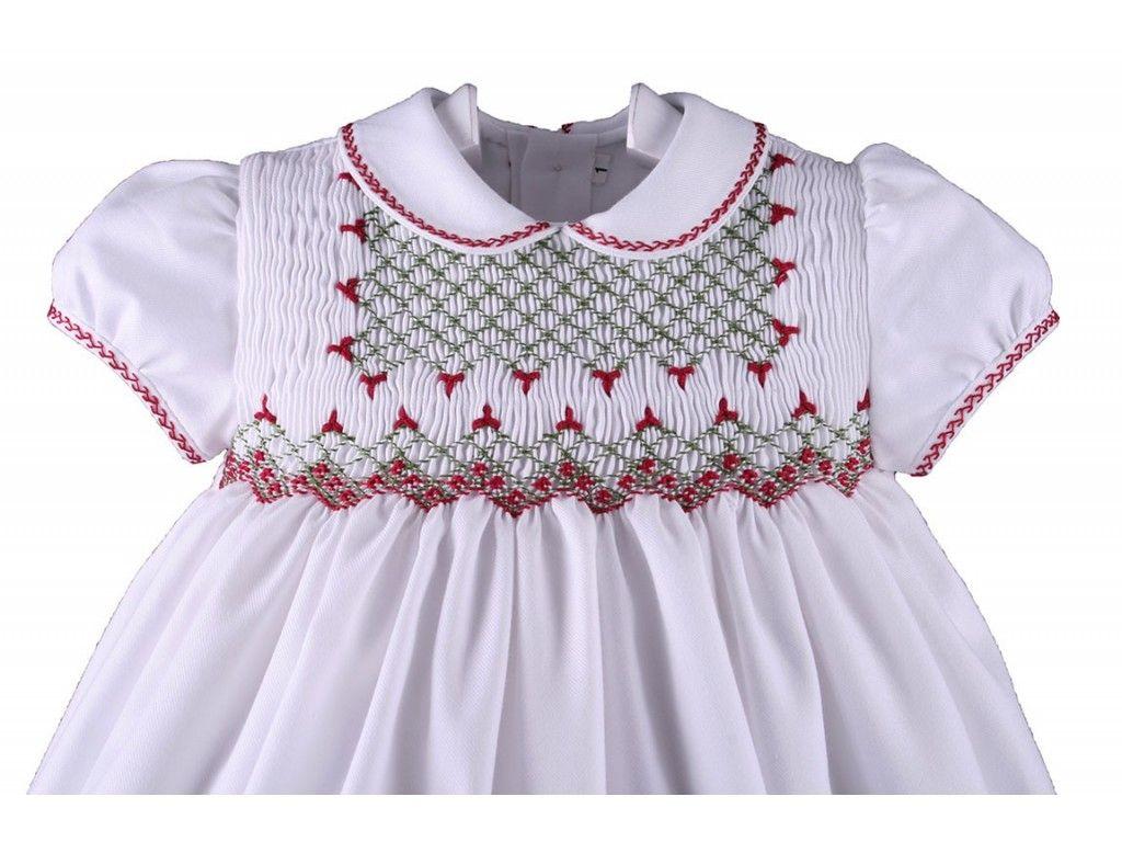 06c390913 Vestidos Bebe Niña bordado en punto smock o nido de abeja - Vestido ...